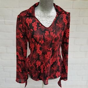 Beechers Brook for Fairweather Red & Black Blouse